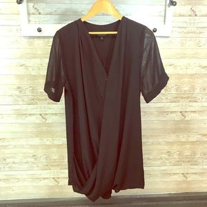 Topshop wrap front dress with sheer sleeves